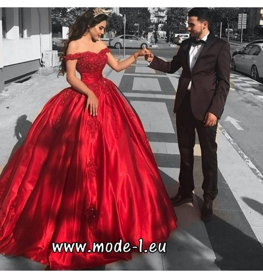 Schulterfreies Abendkleid 18 Ballkleid in Rot  Abendkleid