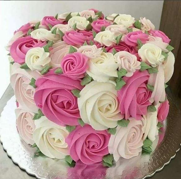 Amazing Spring Rosette Cake Cake Decorating Rosette Cake Cupcake Cakes Funny Birthday Cards Online Inifodamsfinfo