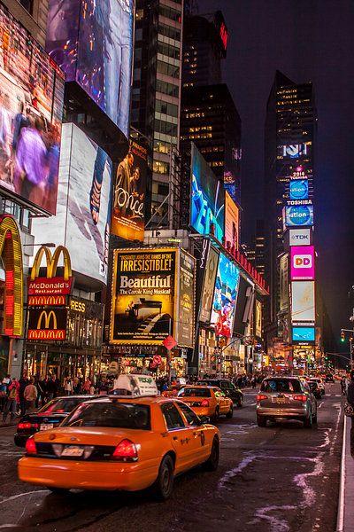 New York Times by night van Stefan Verheij op canv