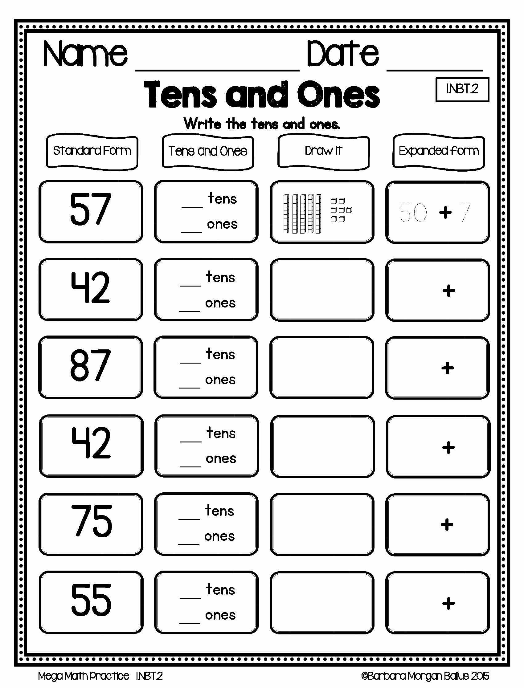 Mega Math Practice Nbt Freebie Preview Ccss 1 Nbt