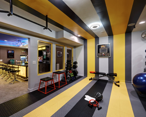Gym yellow google search gym design in gym room at home