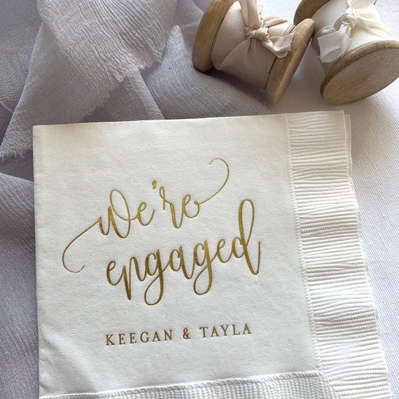 We're Engaged Personalized Napkins Engagement Party | Etsy