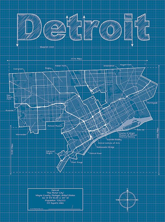 Detroit map original artwork detroit blueprint wall art detroit artistic blueprint map by maphazardly on etsy 3000 malvernweather Choice Image