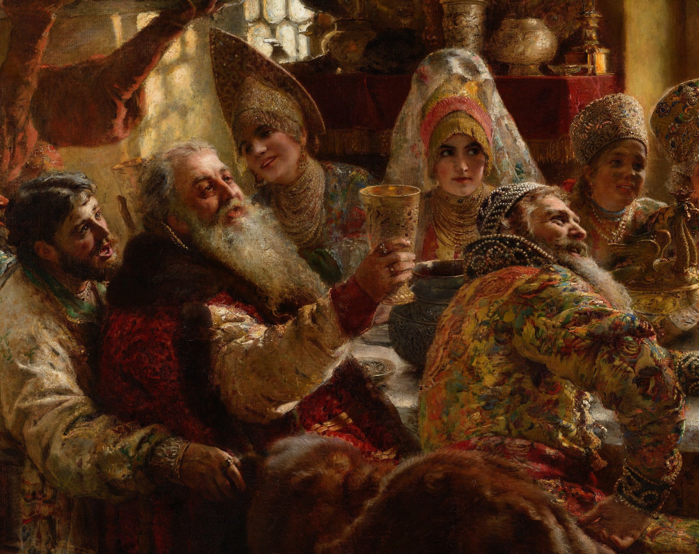 A Boyar Wedding Feast Artist Konstantin Makovsky Year 1883 Detail In 2020 Artist Art Painting