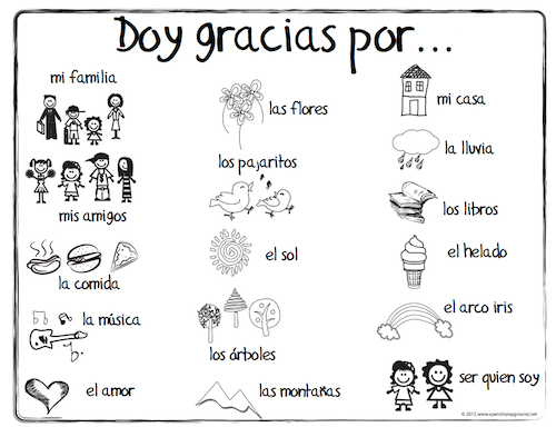 Spanish Thanksgiving Vocabulary Coloring Pages Spanish Playground Thanksgiving Lessons Spanish Thanksgiving Spanish Lessons For Kids