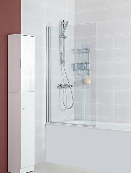 Waterlux Plus Designer Silver Clear Square Bath Screen