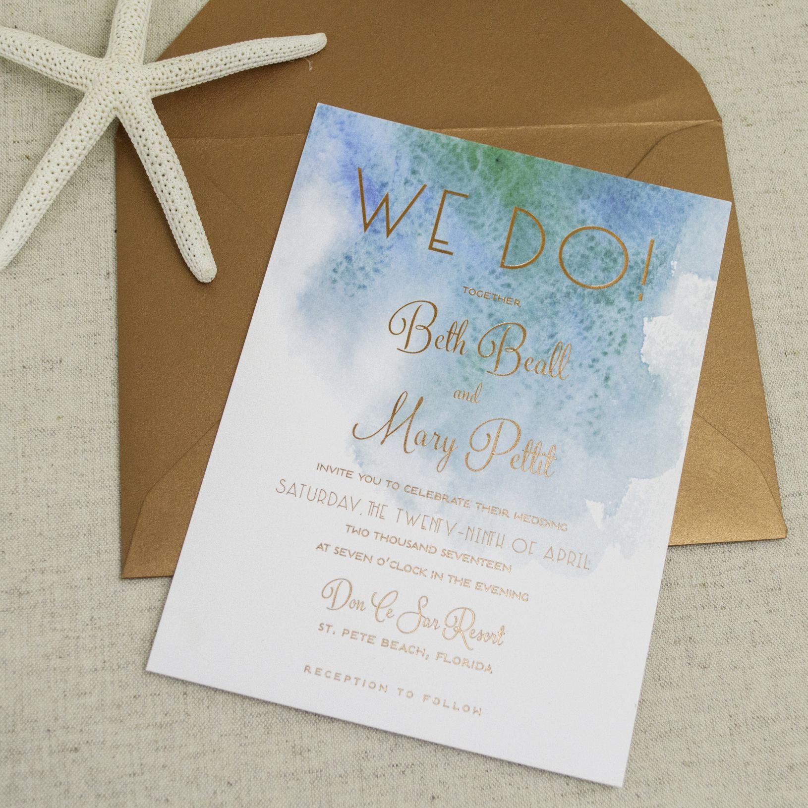 Modern Beach Themed Wedding Invitations - A&P Designs | Beach themed ...