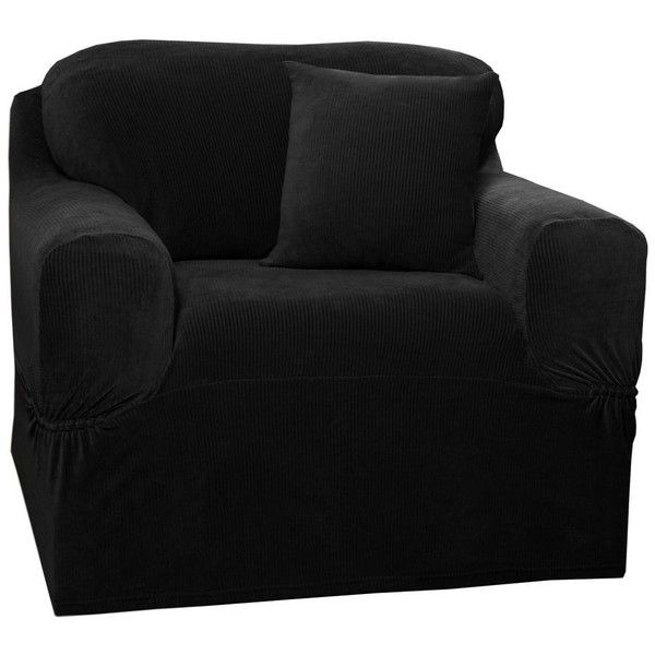 Maytex Collin Stretch 1-pc Slipcover Chair, Black ($78) ❤ liked on Polyvore featuring home, furniture, chairs, accent chairs, onyx furniture, black chair, slip cover chair, black furniture and slipcover furniture