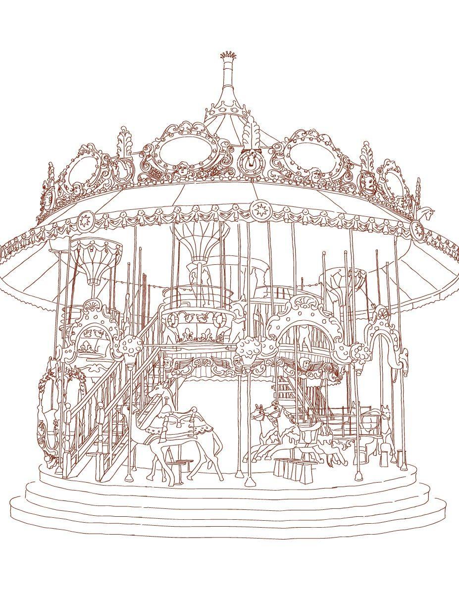 Carrousel Vintage Très Difficile à Colorier Anti Stress And Adult
