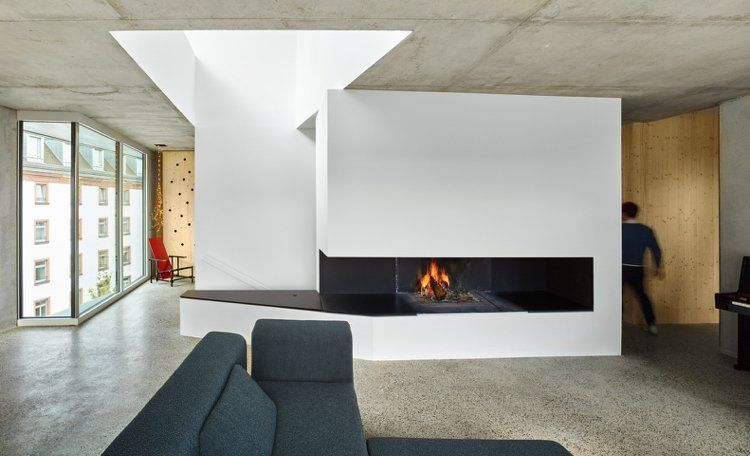 Kamin Wohnzimmer ~ Nachhaltiges bauen wenig fläche privathaus kamin wohnzimmer