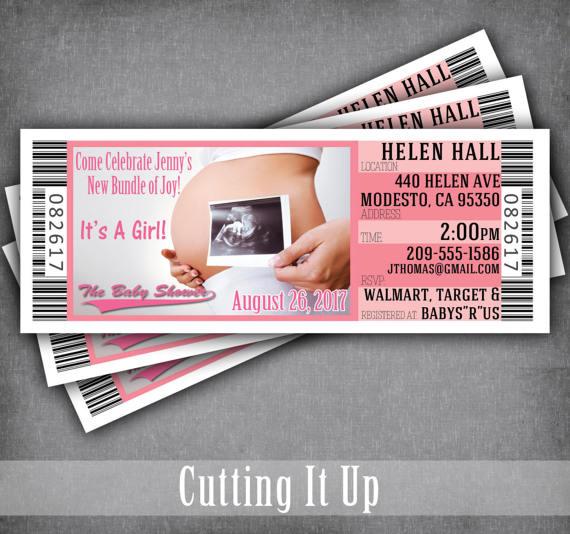 Ultrasound Baby Shower Ticket Invitations, Itu0027s A Girl, Gender - concert ticket invitations