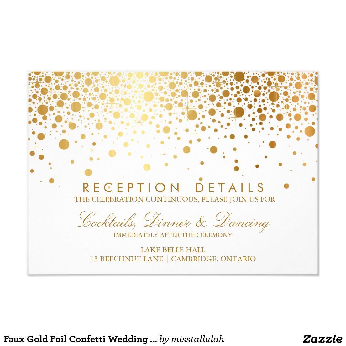 Faux gold foil confetti wedding reception card 35 x 5 faux gold foil confetti wedding reception card 35 x 5 invitation card monicamarmolfo Gallery