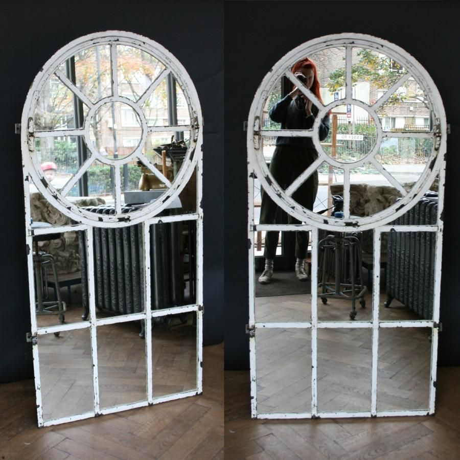 a brilliant pair of antique cast iron window frames glazed with mirror glass for sale on. Black Bedroom Furniture Sets. Home Design Ideas