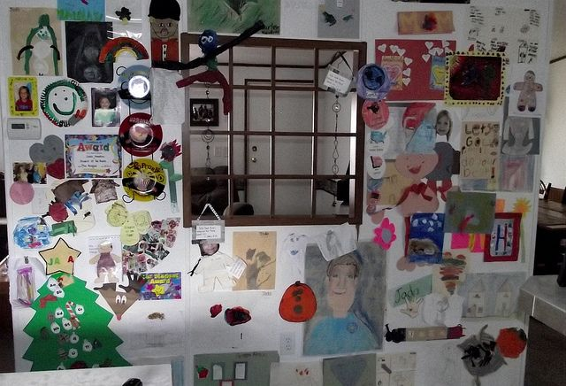 Wall of Fame! Don't know what to do with your kids schoolwork/artwork they bring home? Make a wall dedicated to just that! I use a stapler to hang up stuff, so it wont leave big holes. Hawkins Family Wall of Fame!