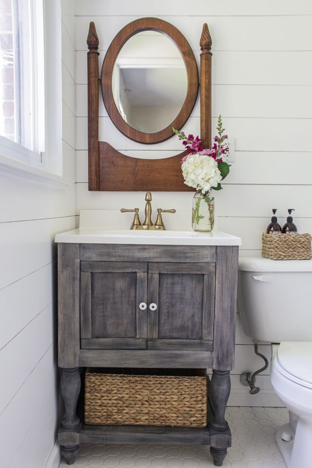 Diy Bathroom Vanity Featuring Shades Of Blue Interiors Diy