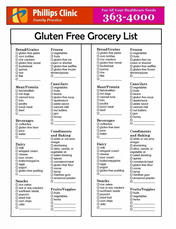 Gluten Free Grocery List Celiacdisease Gfliving  Celiac