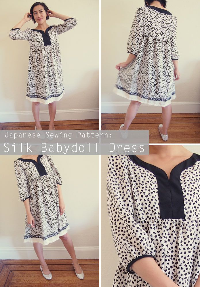 Japanese-Sewing-Pattern-Stylish-Dress-Book-Silk-Floral-Dress-Pinterest