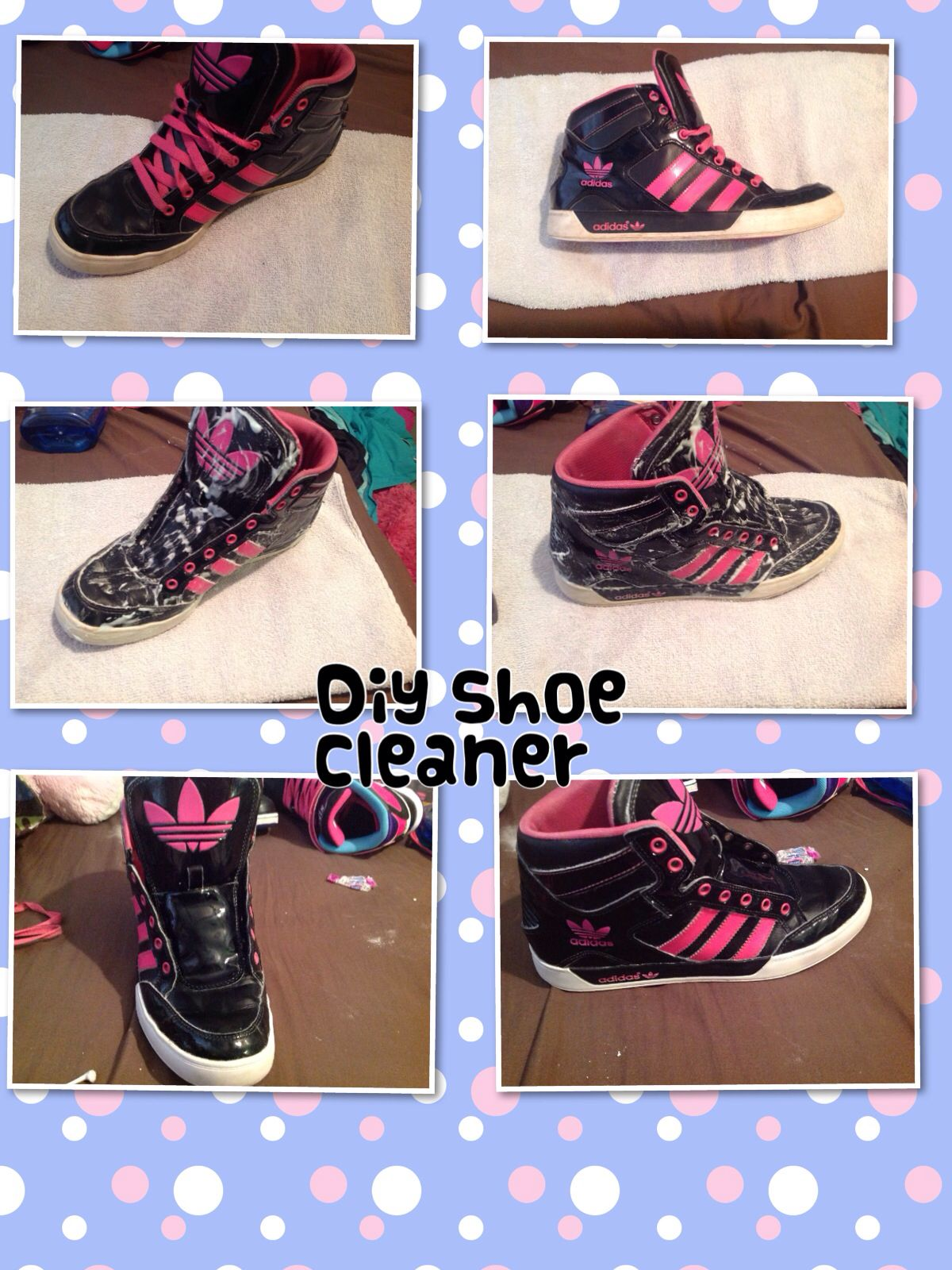 682f0f64ccc296 Diy shoe cleaner  1 2 tbs dawn dish soap 1 tbs baking soda 1 tbs hydrogen  peroxide. After rubbing on shoes (I used a toothbrush) wait 15-20 minutes  and wash ...