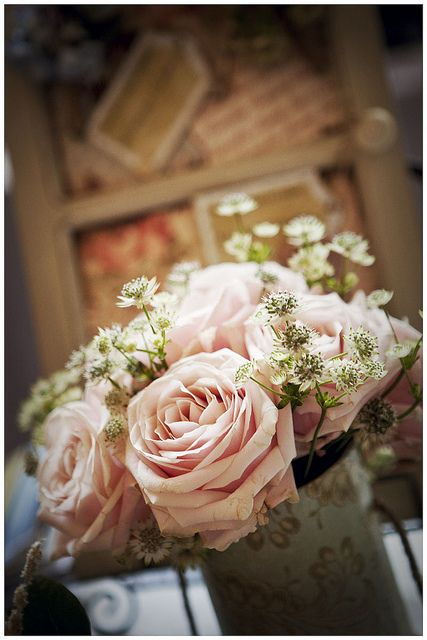 Vintage Style Wedding Table Centre Gorgeous Flowers Pinterest