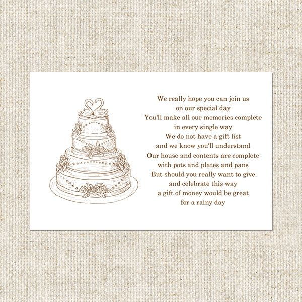 gift card poem for bridal shower wedding cake gift poem card wedding shower ideas