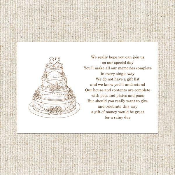 giftcardpoemforbridalshower wedding cake gift poem card