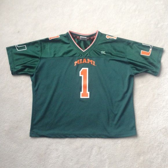 University of Miami women s football jersey Dark green women s fit football  jersey. U logo on the sleeves. 100% polyester. Excellent condition! c14c161606
