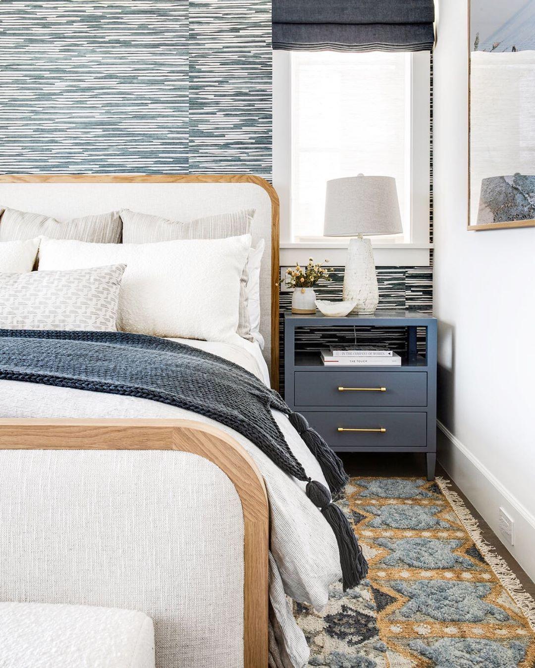"Brooke Wagner Design on Instagram: ""Nubby blues & neutral hues...perfect recipe for a good nights sleep ♡  #sweetdreams #neutraldecor #masterbedroom #bluetones #interiordesign…"""