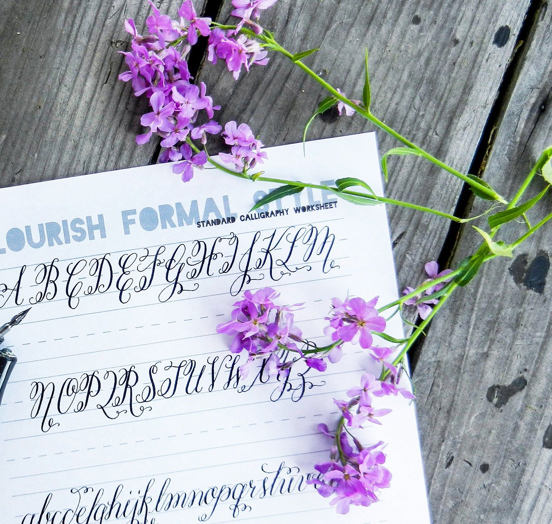 Flourish Formal Style Calligraphy Worksheet