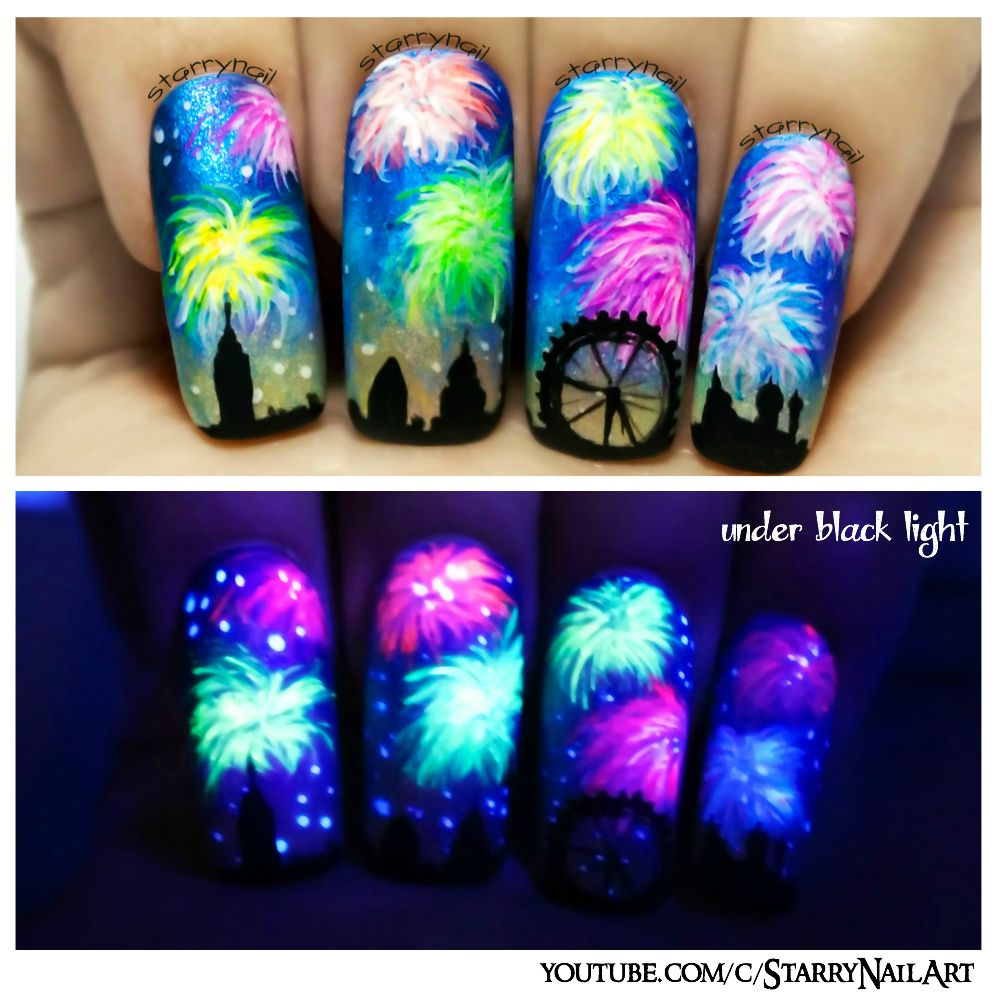New Years Fireworks Glow In The Dark Freehand Nail Art Tutorial