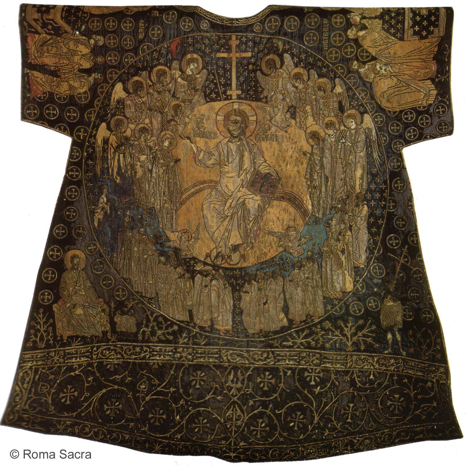 Dalmatic of Charlemagne. The dalmatic is a long wide-sleeved tunic, which serves as a liturgical vestment in the Roman Catholic, Lutheran, Anglican, and United Methodist Churches,