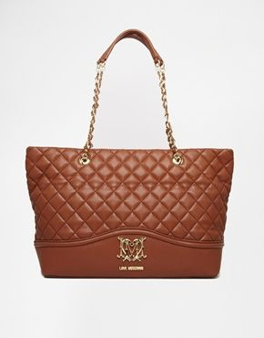 Love Moschino Large Quilted Shopper Bag in Tan