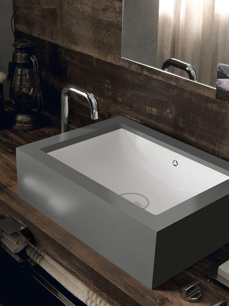 design handwaschbecken badezimmer rechteckig grau holzwaschtisch - badezimmer grau design