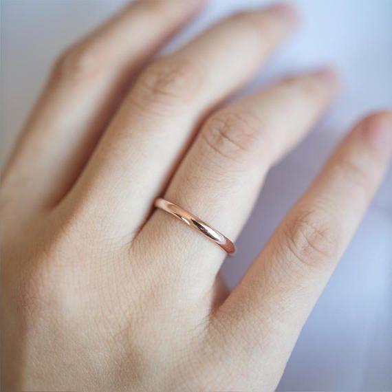 836b0316524da 2MM Solid Gold Ring, 14K Gold Wedding Ring, Simple Half Round Band ...