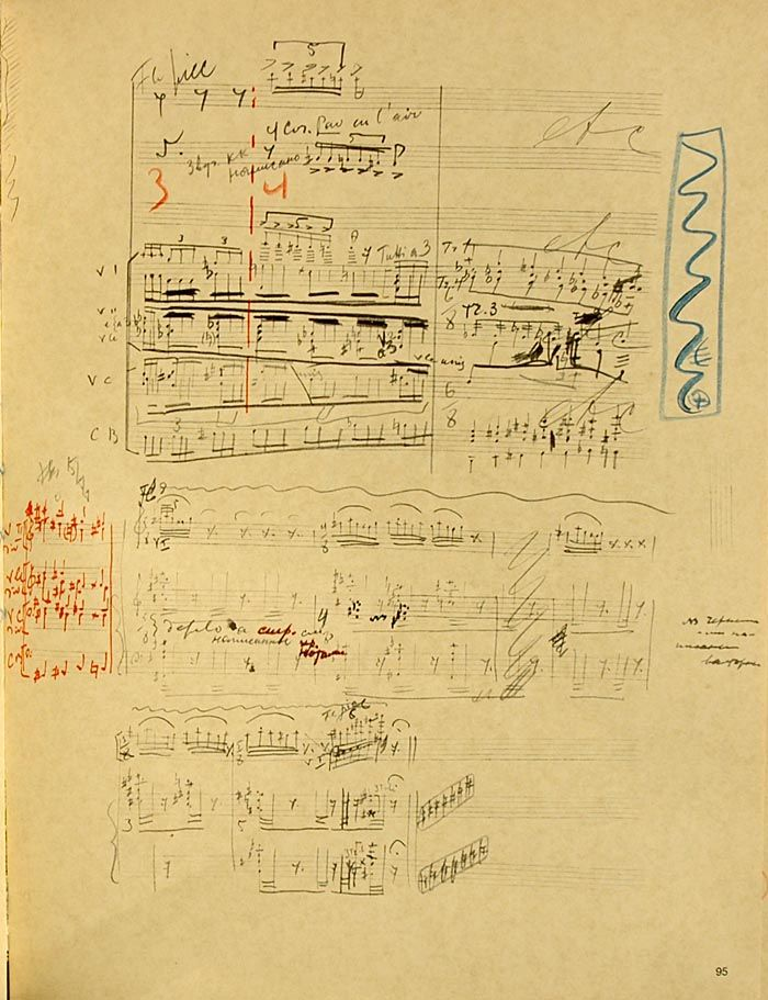 A page from the manuscript of The Sacrificial Dance from The Rite of Spring in Stravinsky's own hand, with corrections, annotations and scribbles.