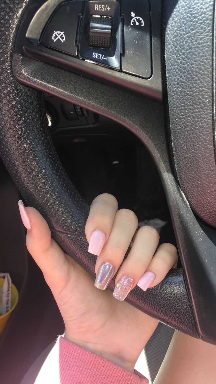 Light Pink Glitter Holographic Coffin Acrylic Nails Holographic Nails Acrylic Pink Acrylic Nails Pink Glitter Nails