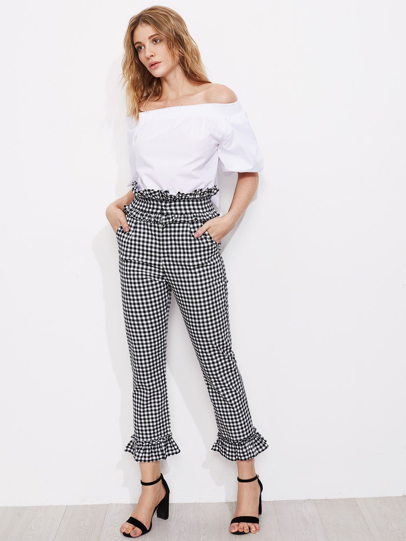 Shop Gingham Frill Trim Pants online. SheIn offers Gingham ...
