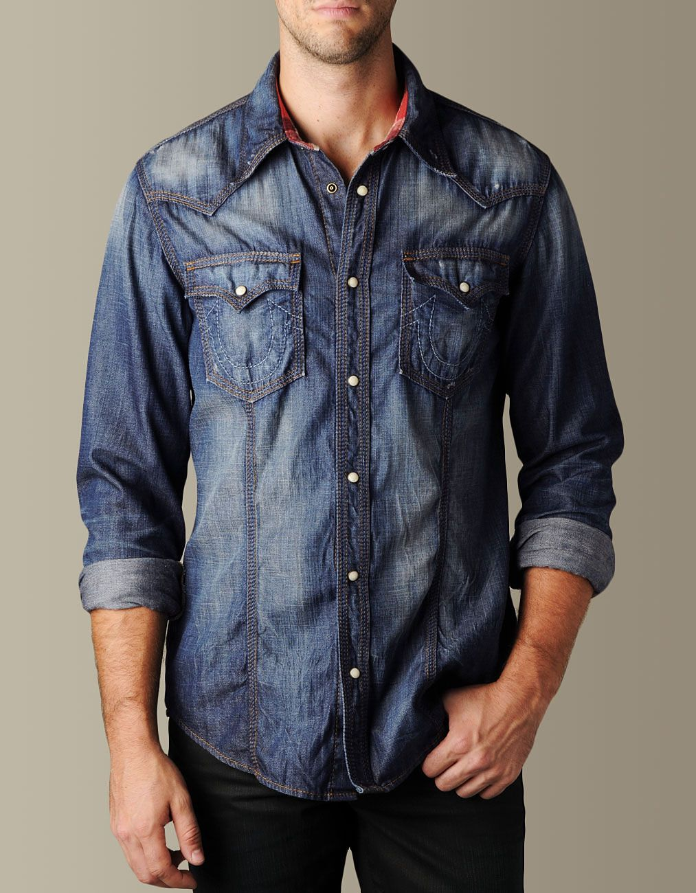 35ab445dd54 Mens Flannel Trim Rocky Denim Western Shirt - (Tacoma)