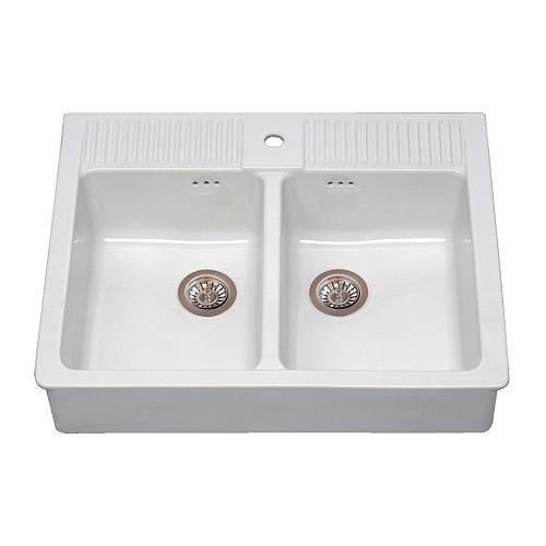 Doppelwaschbecken ikea  Zum Einbau gedacht DOMSJÖ Spüle mit 2 Becken IKEA Inklusive 25 ...