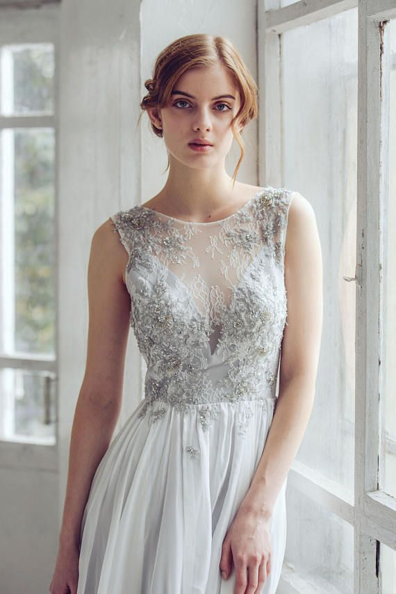 4c112a1cf9 Silver gray wedding dress // Lobelia new/ Silk wedding gown, open ...