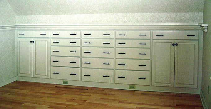 These Drawers And Cabinets Are Built In To The Knee Wall In This Master Bedroom