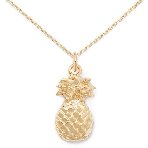 14k Gold Pineapple Necklace By Delicacies Jewelry 340 Liked On Polyvore Featuring Jewe Pineapple Necklace Gold Gold Open Heart Necklace Pineapple Necklace