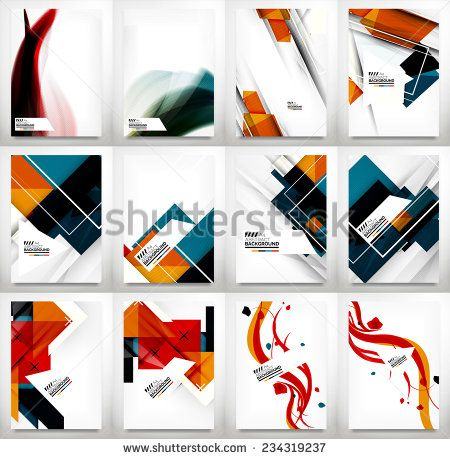Flyer, Brochure Design Template Set, Business Abstract Geometric - geometric flyer template
