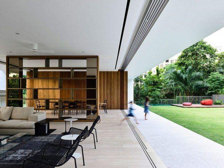 salon moderne séparé de la salle à manger, cloison design et ...