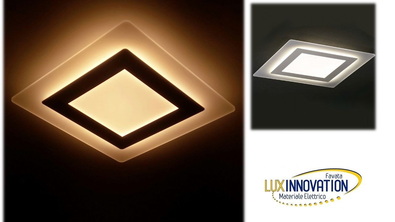 Plafoniera Quadrata Led Soffitto : Plafoniera moderna effetto vetro elegante quadrata da tetto led