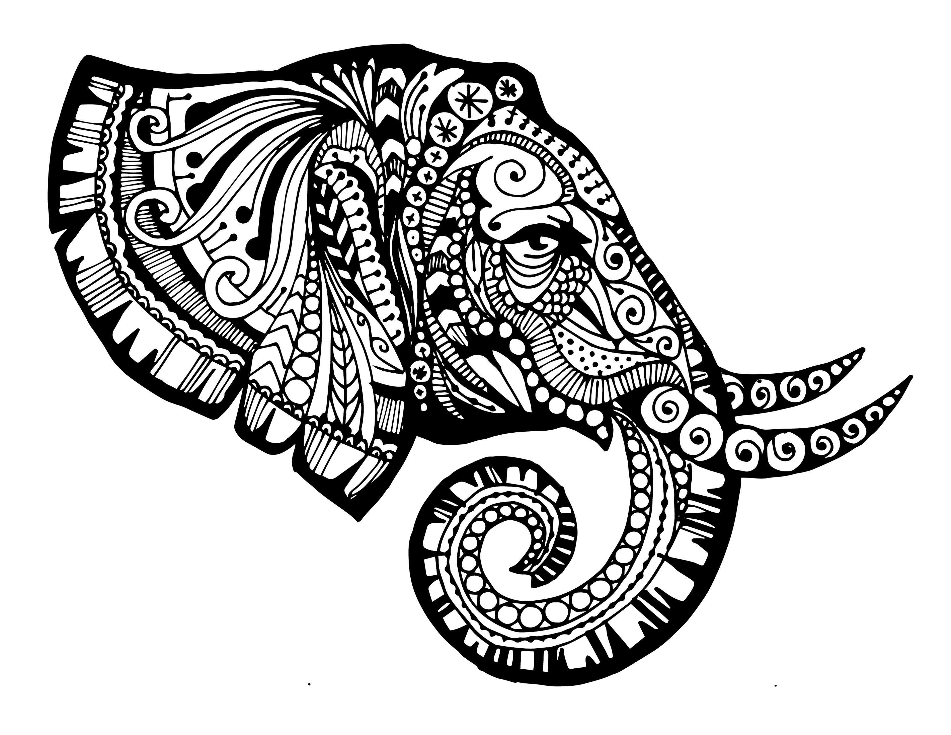 Zentangled Elephant Printable - The Creative Monster | Art ...