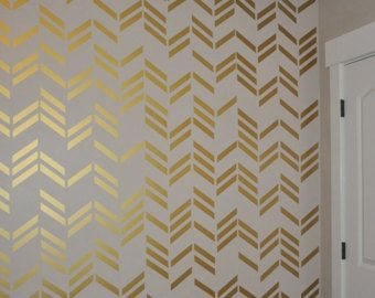 herringbone removable vinyl wall decal by on etsy