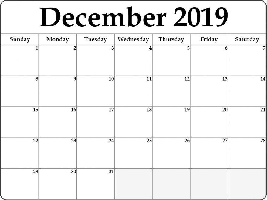 Free Editable December Calendar 2019 Blank Template Printable