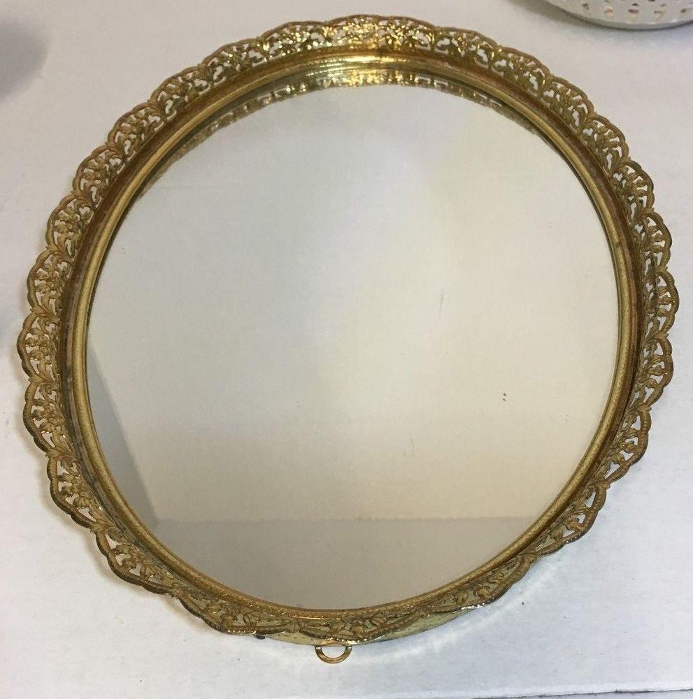 Decorative Metal Tray Details About Vintage Decorative Metal Vanity Dresser Mirror