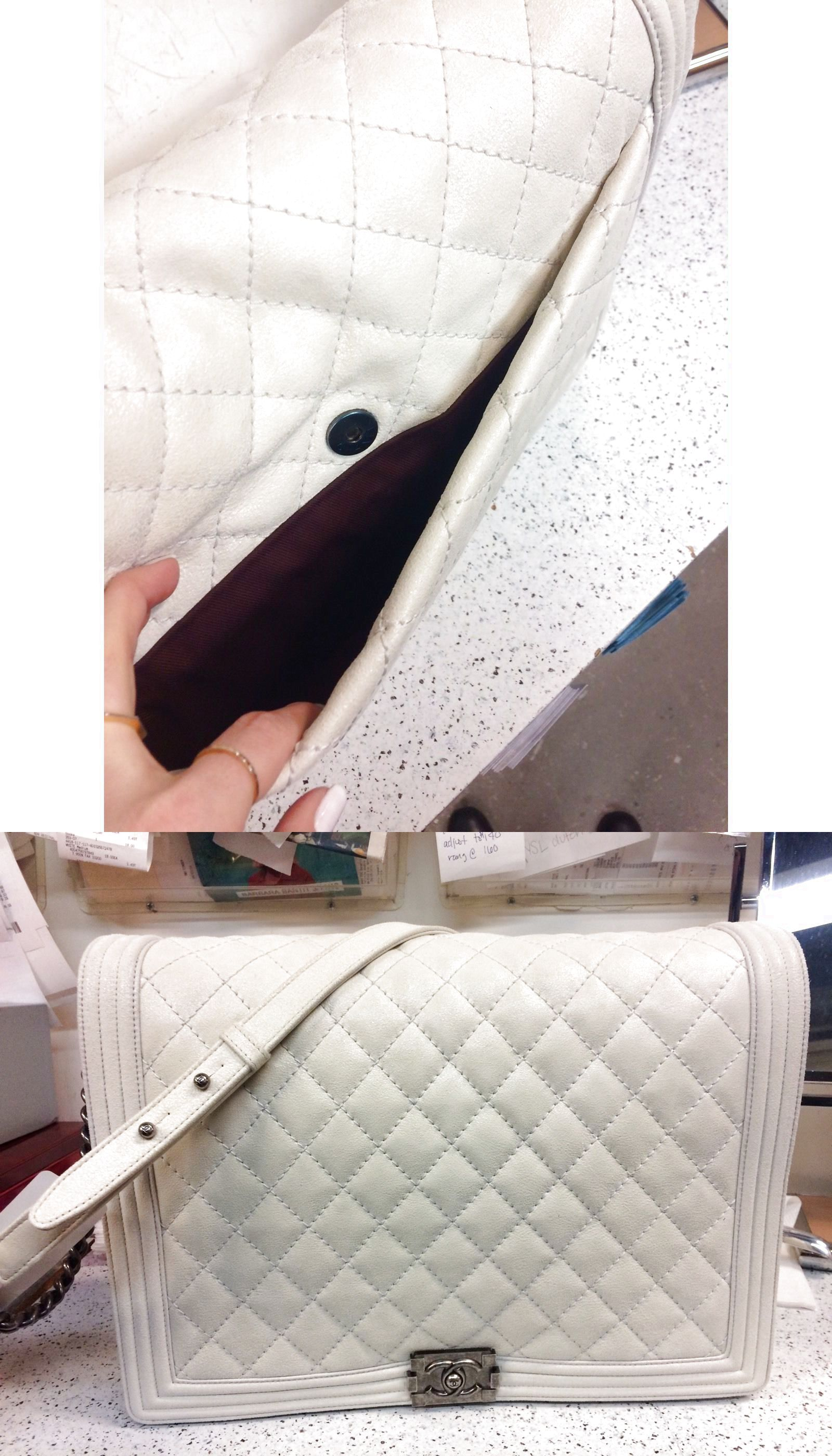 bnib chanel xl le boy flap white quilted gentle shoulder bag ruthenium 28000