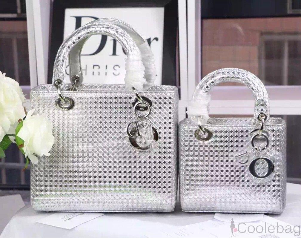 f0824eb01e DIOR LADY DIOR BAG IN SILVER-TONE PERFORATED CALFSKIN   Dior ...